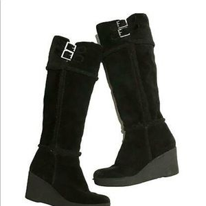 Juicy Couture Knee High Suede Wedge Boots Size 9.5